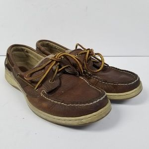 Sperry Top Sider Brown Leather Moccasin Boat Shoe